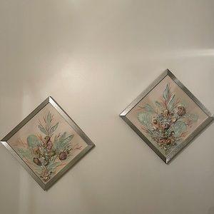 (2) 12 inch Handmade Sea Shell Wall Art
